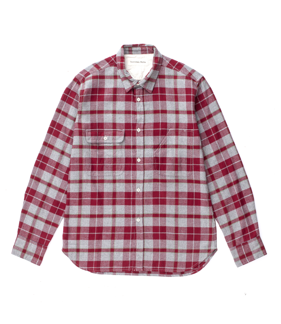 Universal Works Chore Shirt Brushed Check Grey Red