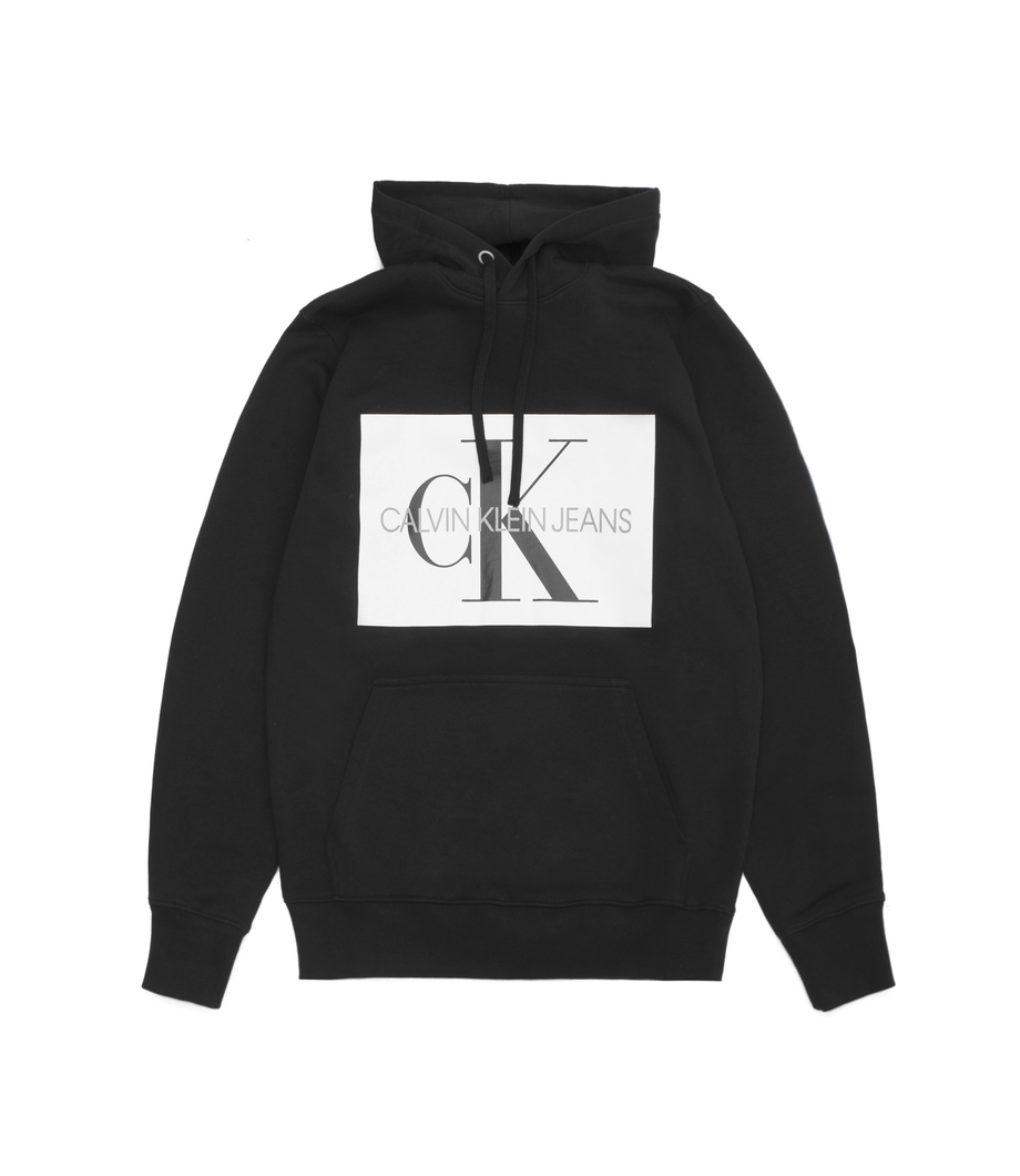 22ddf1d718af Calvin Klein Jeans Monogram Box Logo Hoodie Black Bright White