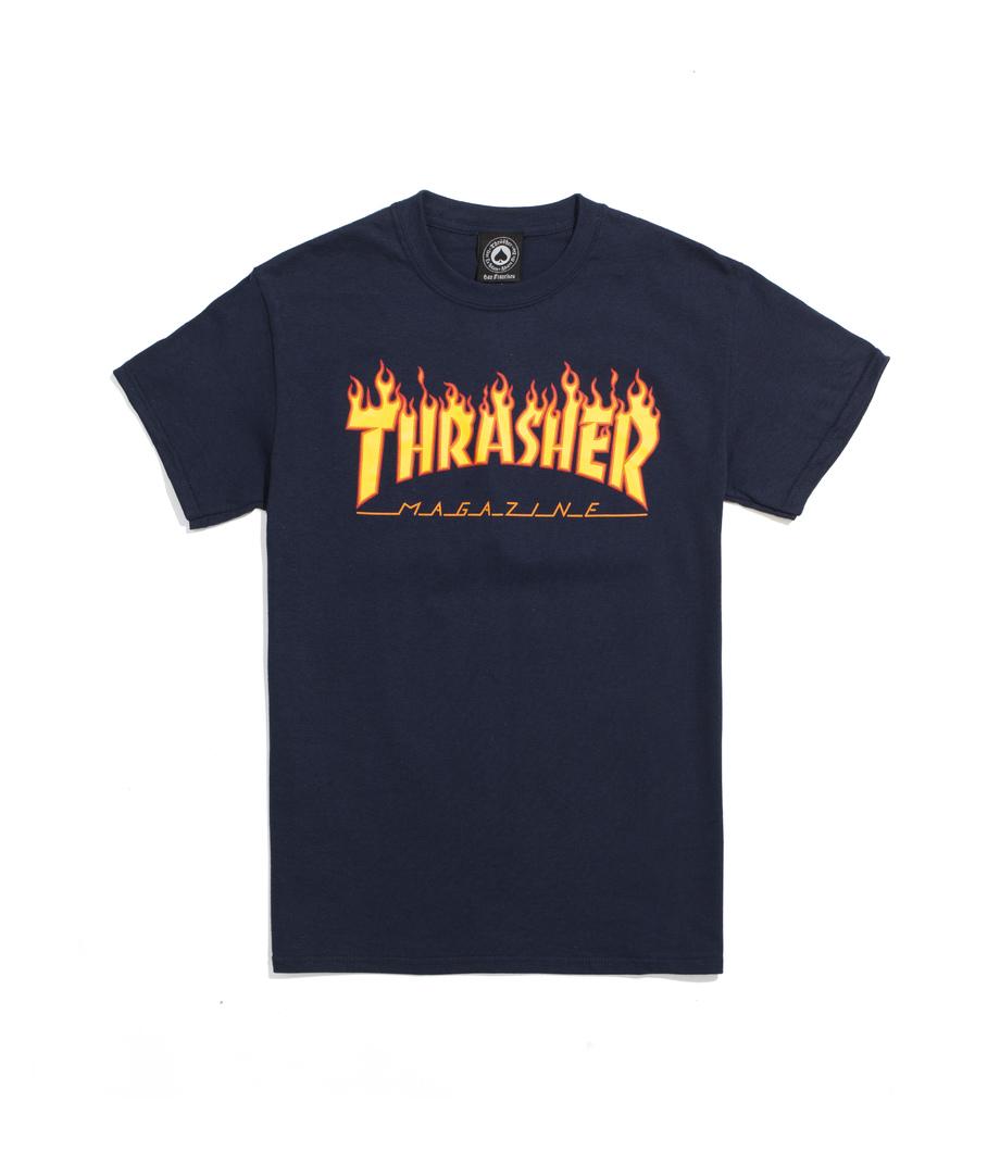 cdddf7dec29 Thrasher. Thrasher Flame Logo T-Shirt Navy